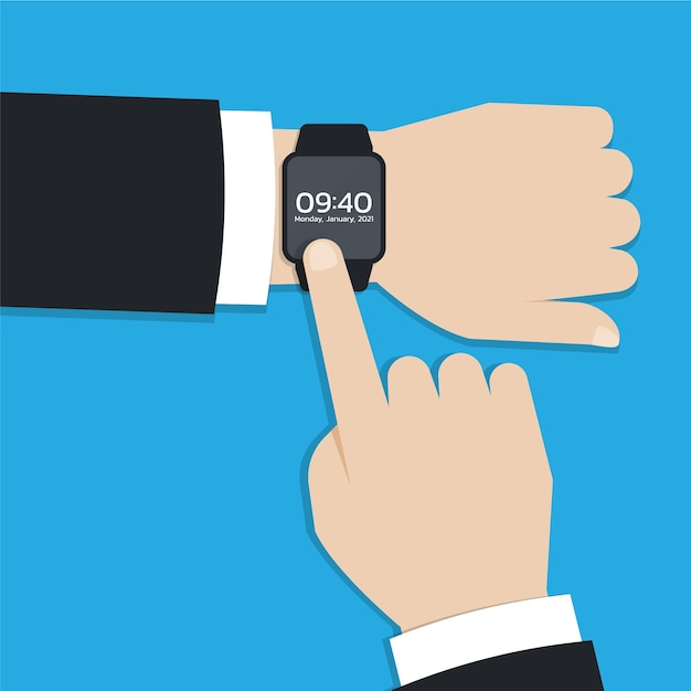 Modern smartwatch or wearable device on businessman hand Premium Vector