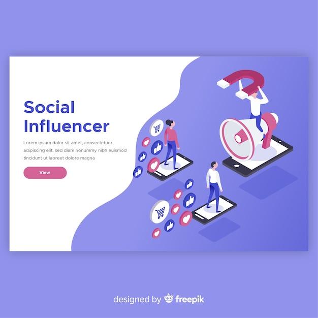 Modern social influencer concept Free Vector