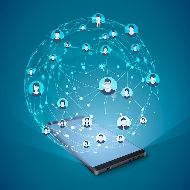 現代のソーシャルメディアの概念。モバイルインターネットとソーシャルネットワーキング。 Premiumベクター