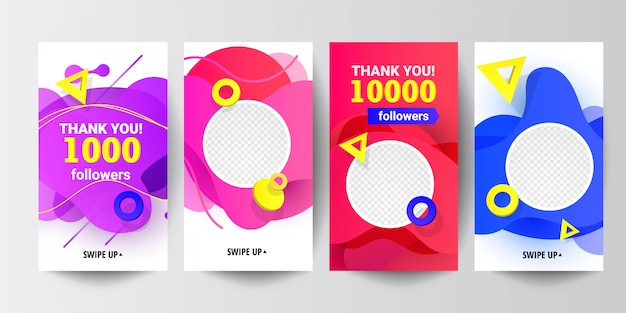 Modern social media follow us banner set with liquid gradient shapes, with triangular speed round decor elements Premium Vector
