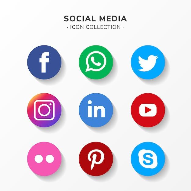 평면 디자인에 현대 소셜 미디어 아이콘 설정 무료 벡터