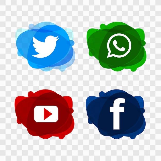 Modern social media icons set design vector Free Vector
