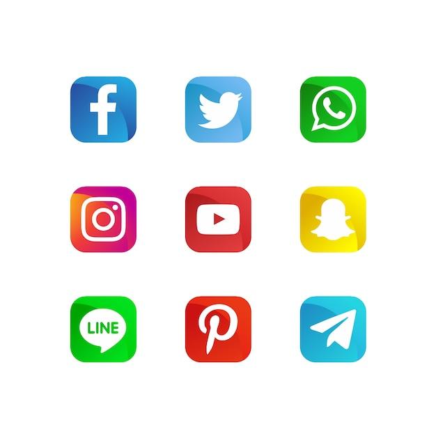 Modern social media icons Premium Vector