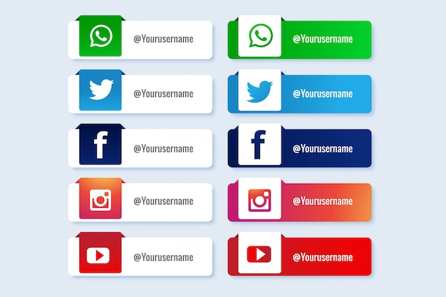 Modern social media lower third banner collection Free Vector