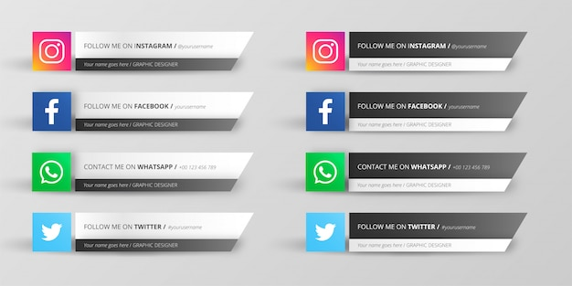 Modern social media lower third collection Free Vector
