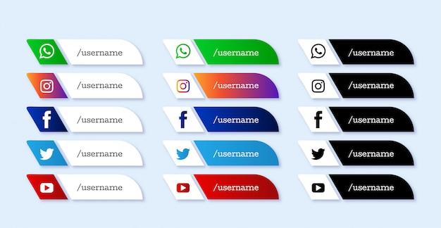 Современные социальные медиа набор иконок нижней трети Бесплатные векторы