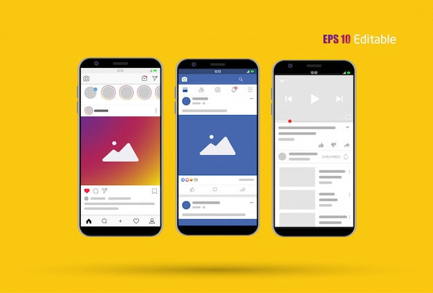 Modern social media новый канал Premium векторы
