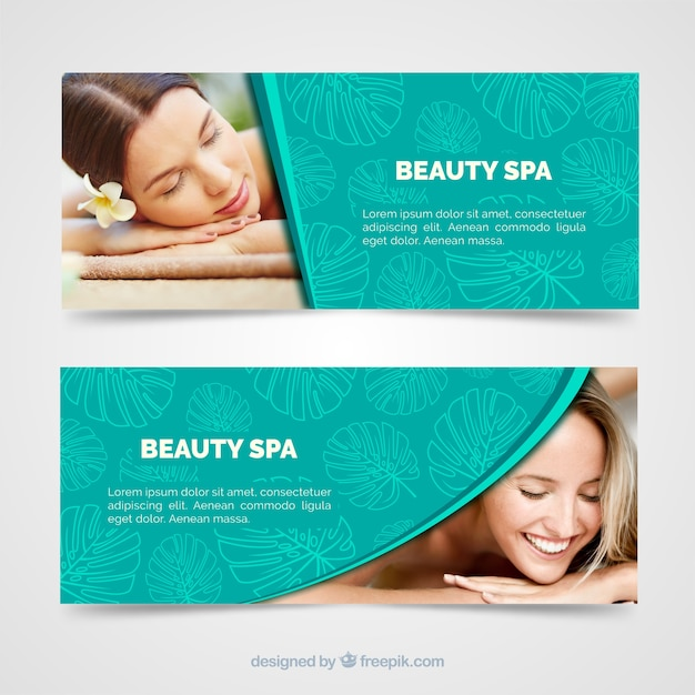Modern spa banners with photo Free Vector