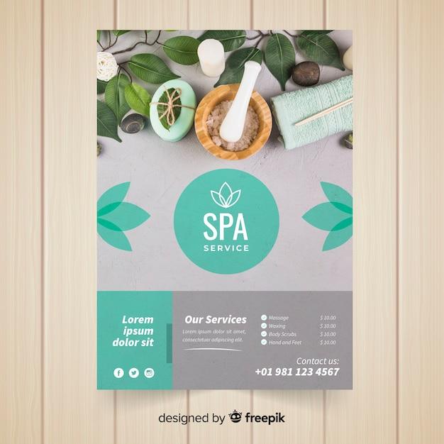 Modern spa flyer template Free Vector