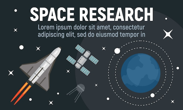 Modern space research banner, flat style Premium Vector