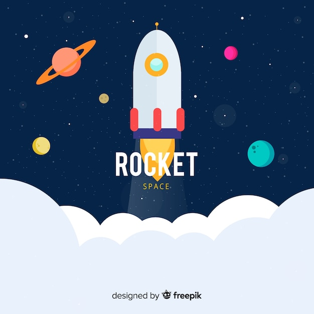 Modern space rocket with flat design Free Vector
