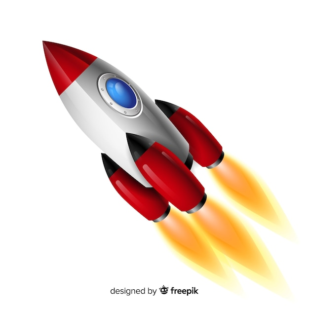 Modern space rocket with realistic design Free Vector