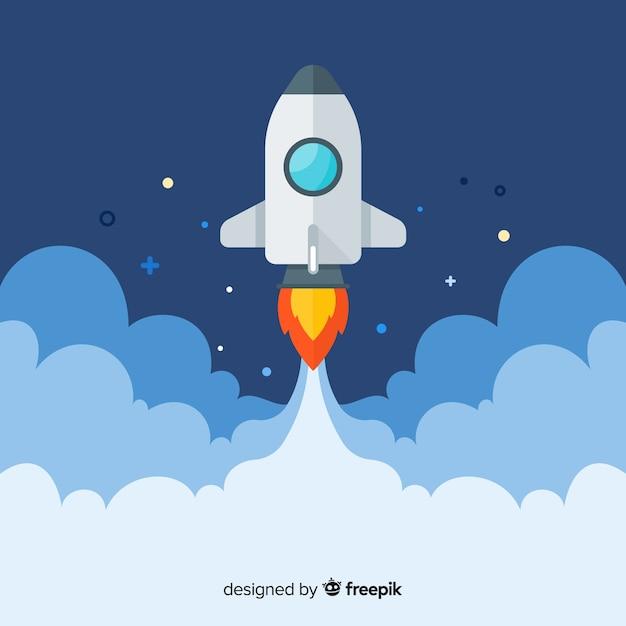 Modern spaceship background with flat deisgn Free Vector