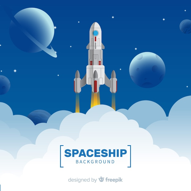 Modern spaceship background with flat design Free Vector