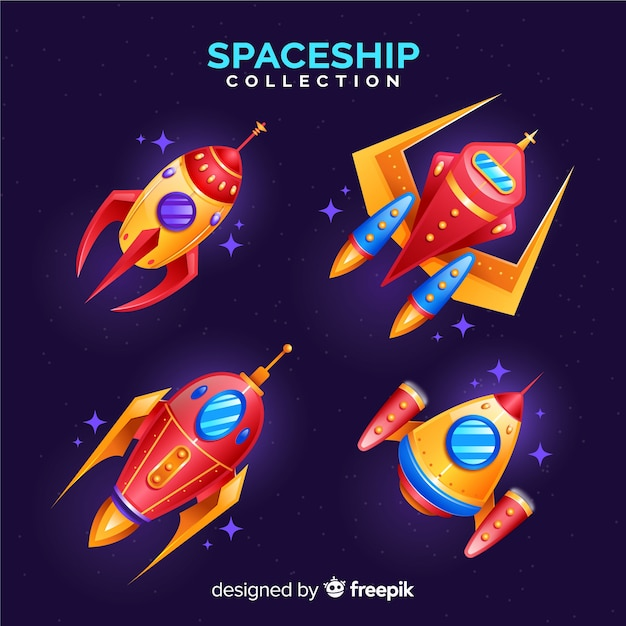 Modern spaceship collection with flat design Free Vector