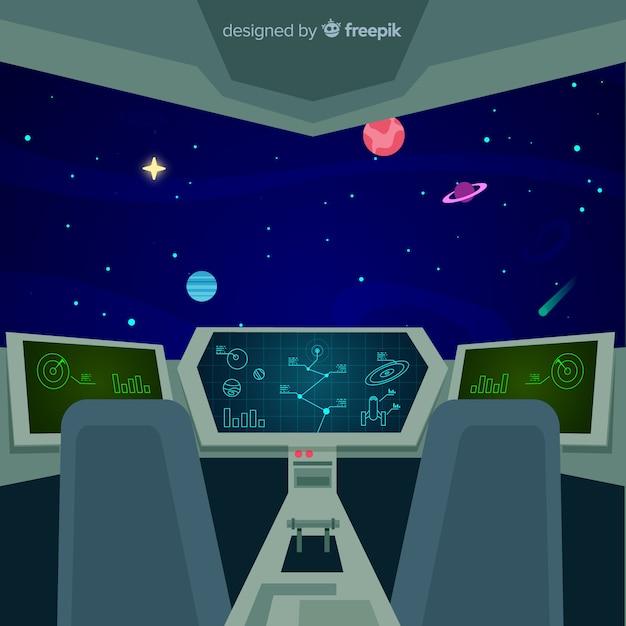 Modern spaceship interior background with flat design Free Vector