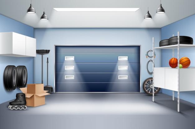 Современный просторный гараж интерьер реалистичная композиция с шкафами для хранения стеллажи роликовые коньки шины раздвижные двери векторная иллюстрация Бесплатные векторы
