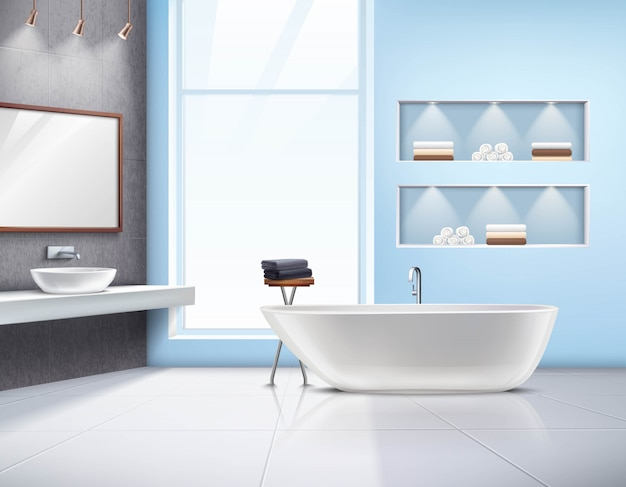 Modern spacious sunlit bathroom interior realistic design with white bath sink accessories and big w Free Vector