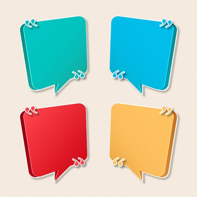 Modern speech bubble collection for quotes Free Vector