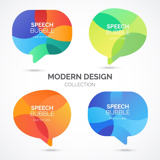 Modern speech bubble collection Free Vector