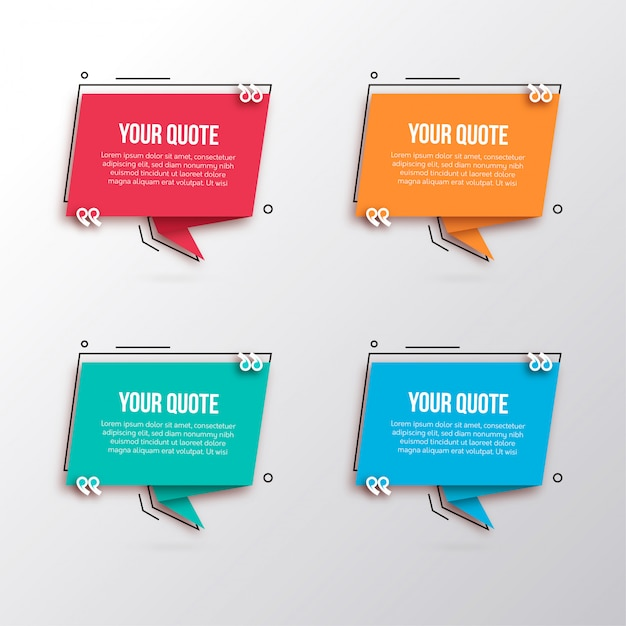 Modern speech bubbles for quotes Free Vector