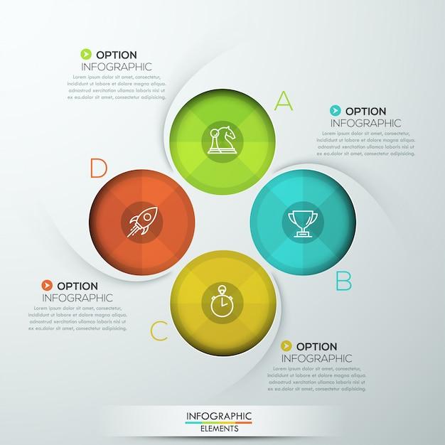 4つのオプションを持つモダンなスパイラルインフォグラフィック Premiumベクター