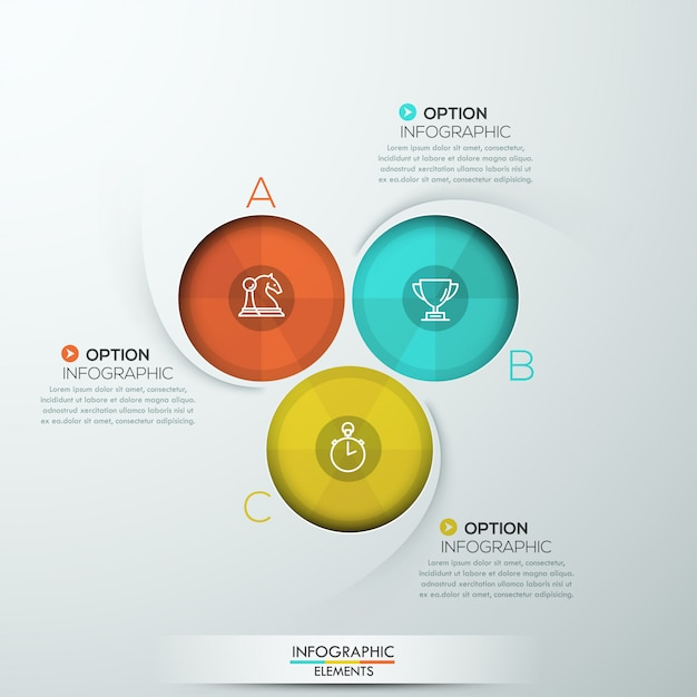 Modern spiral infographics with three options Premium Vector
