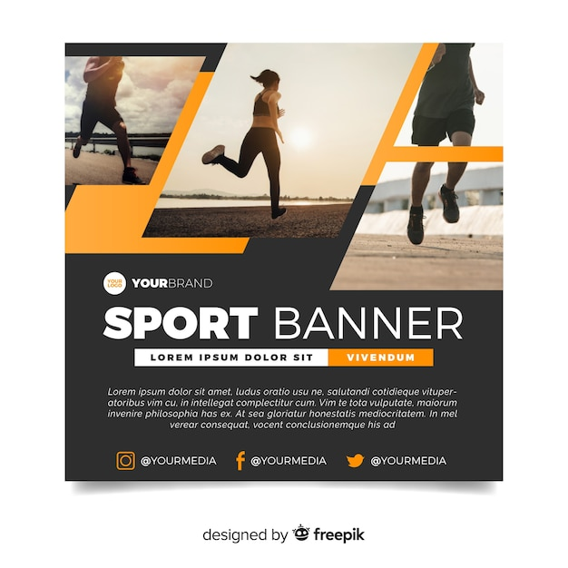 Modern sport banner with image Free Vector
