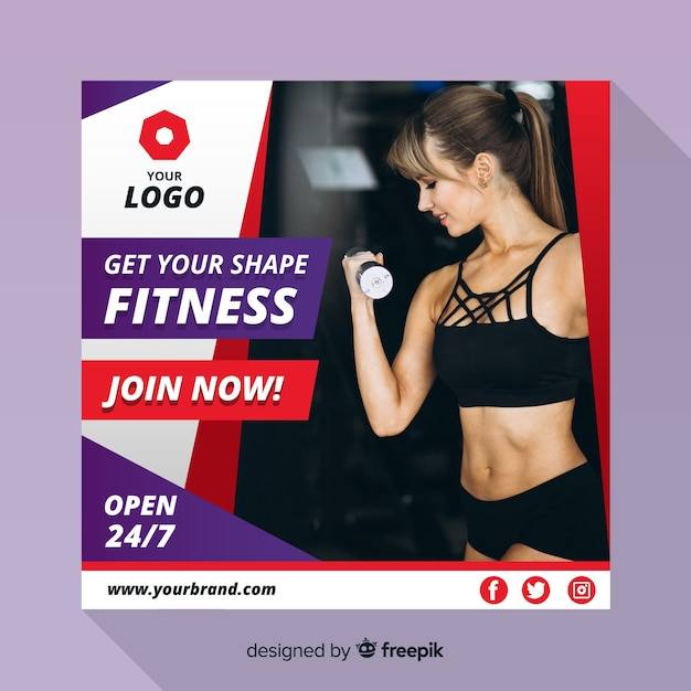 Modern sport banner with photo Free Vector
