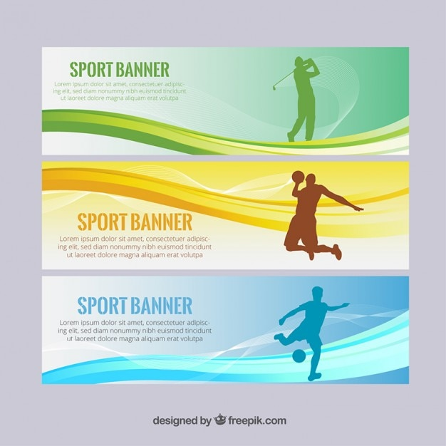 Modern sport banners with silhouettes and\ waves
