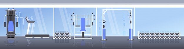 운동 장비 훈련 장치 건강 한 라이프 스타일 개념 가로 배너와 현대 스포츠 체육관 인테리어 빈 사람들이 헬스 클럽 프리미엄 벡터