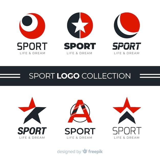 Коллекция современного спортивного логотипа Бесплатные векторы