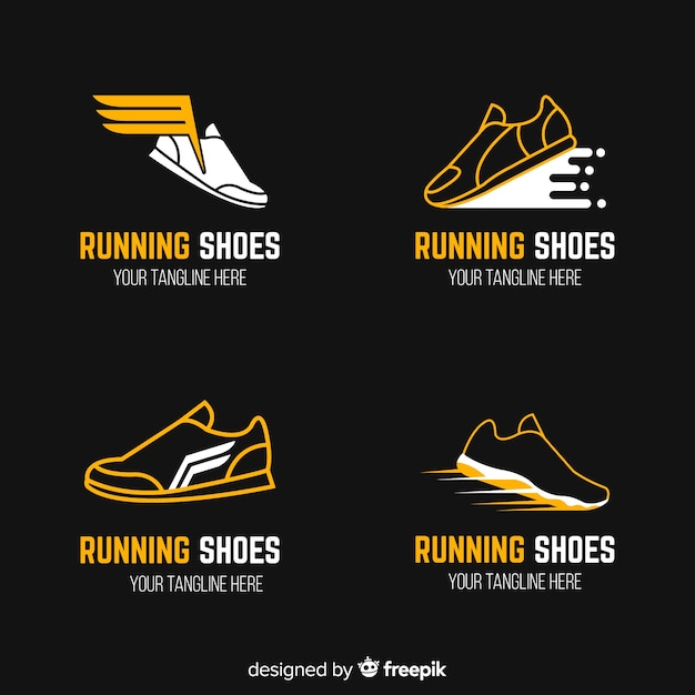 Modern sport shoes logo template collection Free Vector
