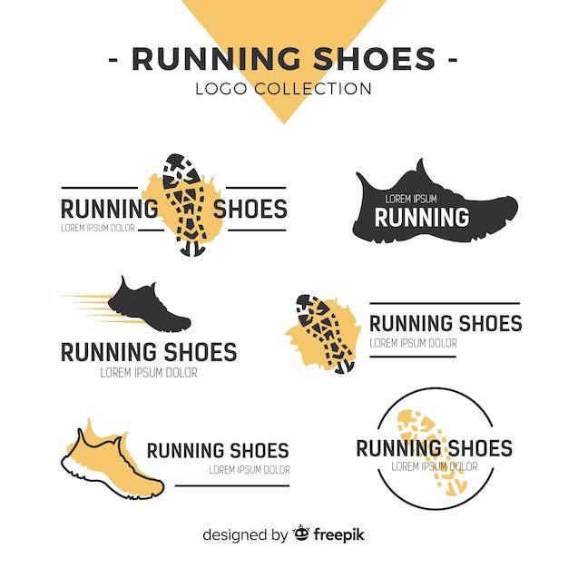 Коллекция шаблонов логотипов современной спортивной обуви Premium векторы