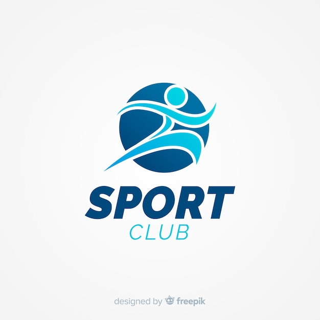 Modern sports logo template with flat design Free Vector