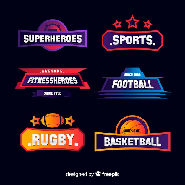 Modern sports logotype collection Free Vector
