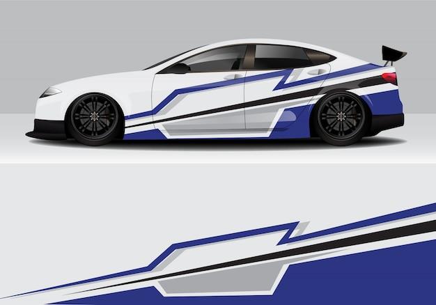Современная спортивная абстрактная гоночная машина, наклейка с надписью Premium векторы