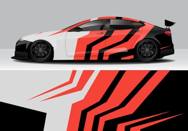 Modern sporty abstract race car wrap, decal sticker Premium Vector