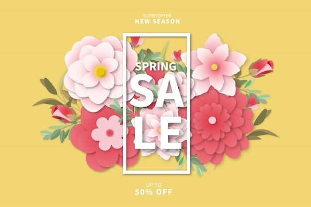 Modern spring sale background Free Vector