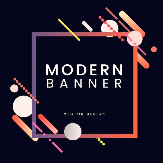 Modern square banner in colorful frame illustration Free Vector