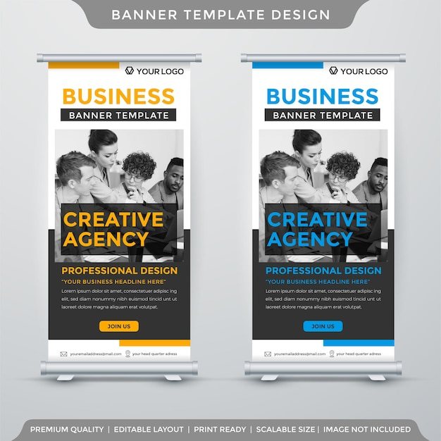 Modern stand banner template with minimalist style Premium Vector