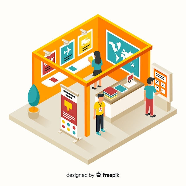 Modern stand exhibition in isometric concept Free Vector