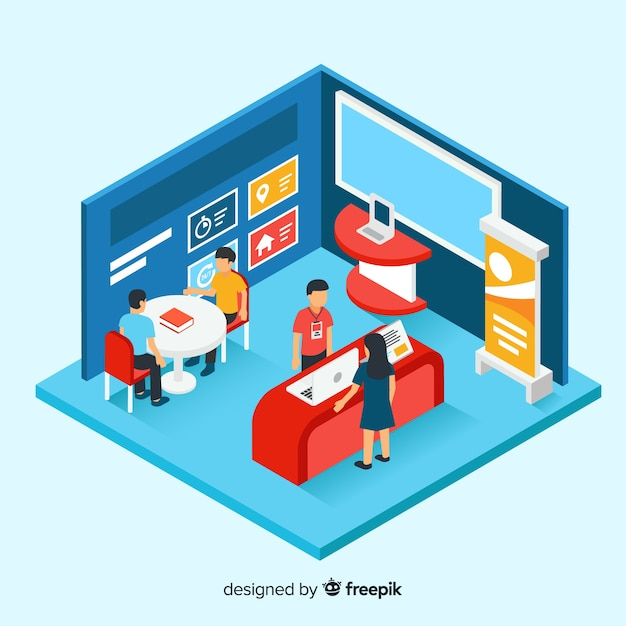 Modern stand exhibition in isometric design Free Vector