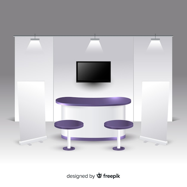 Modern stand with realistic design Free Vector