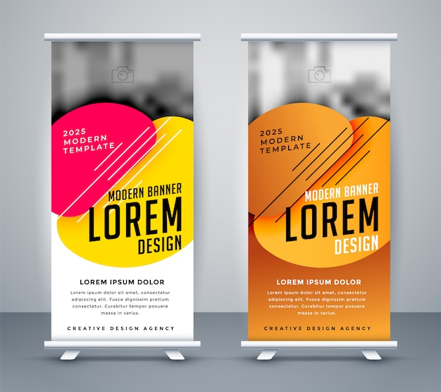 Modern standee design in abstract style Free Vector