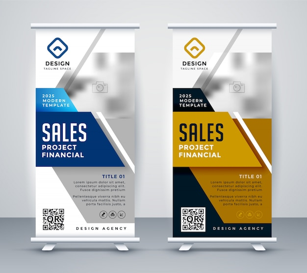 Modern standee rollup banner for marketing Free Vector