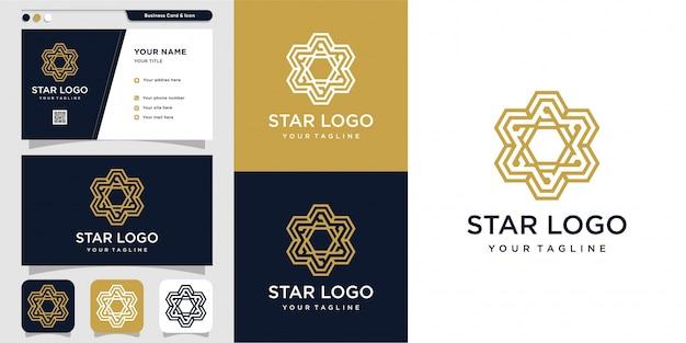 Modern star logo and business card design template Premium Vector
