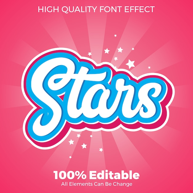 Modern stars srcipt sticker text style editable font effect Premium Vector
