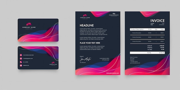 Modern stationery business pack Free Vector