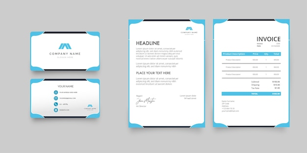 Modern stationery collection with blue business card, letterhead and invoice Free Vector